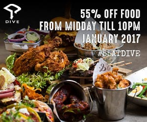 Dive NQ - 55% Off Food January 2017 - Web Banner 300px X 250px