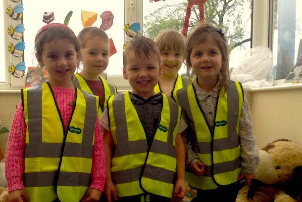 Children At Heap Bridge Village Primary School In Bury Try On Their New High Visibility Vests