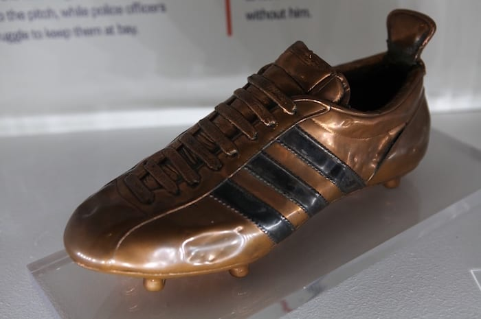 1966 World Cup Exhibition at the National Football Museum opens 24th June 2016 Pictured: Geoff Hurst's commemorative bronze boot which was created by Adidas after the final and never seen outside of Germany before now. Further Info: Hugh Thomas footballmuseum@wearebrazenpr.com 07703 832104 PR and Press Release Distribution only. Further or additional use requires permission. Picture © Jason Lock Photography +44 (0) 7889 152747 +44 (0) 161 431 4012 info@jasonlock.co.uk www.jasonlock.co.uk