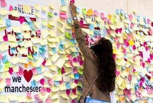 Manchester Arndale Love Wall - thousands of people express their support in aftermath of riots I Love Manchester