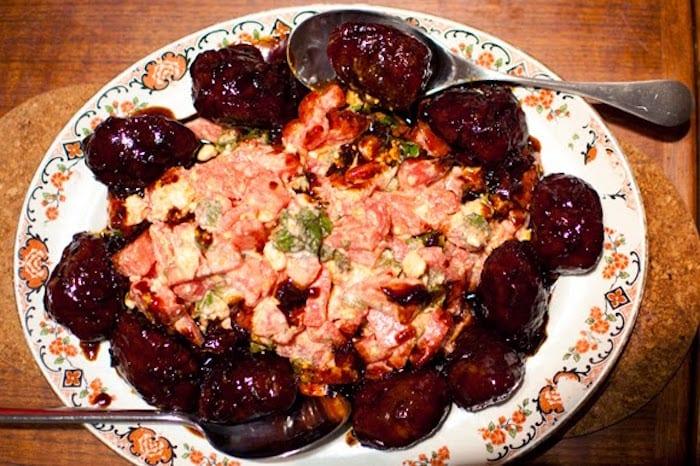 Chilli & Soy Pork Cheeks, Watermelon, Mint & Feta Salad. Credit @bacononthebeach