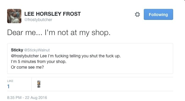Twitter beef: Frosty The Butcher v Gary The Chef - social media banter gets meaty! I Love Manchester