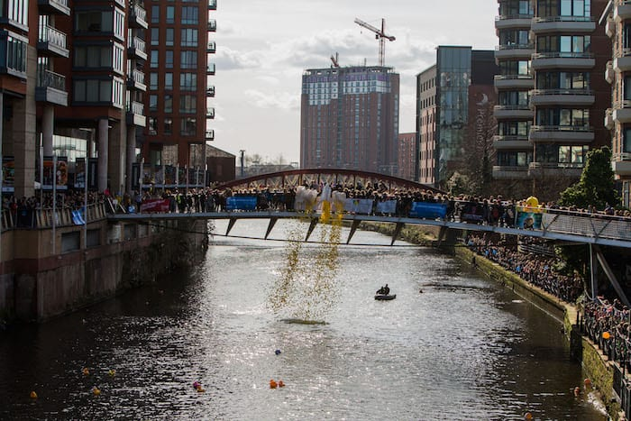 A GIANT inflatable rubber duck has been spotted at the New Bailey I Love Manchester