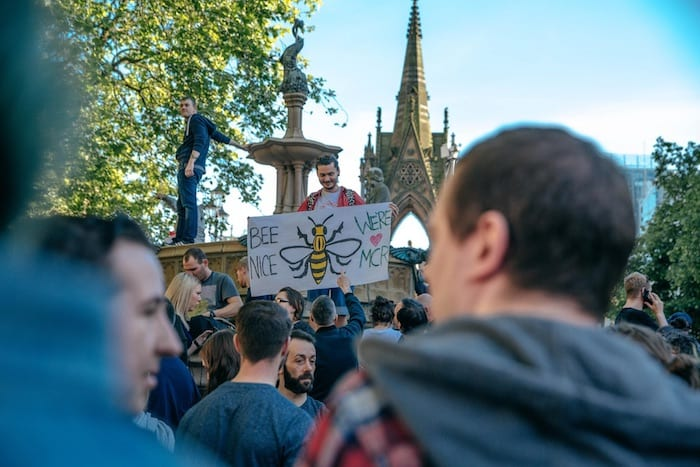 Don't look back in anger: the people of Manchester stand together against terrorat vigil for peace I Love Manchester