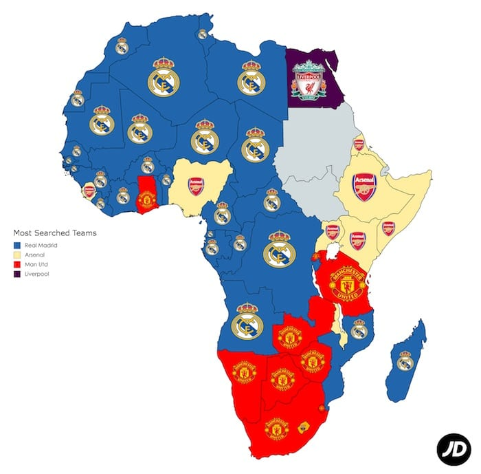 Southern Africa is red: Man United third most googled club in the world I Love Manchester