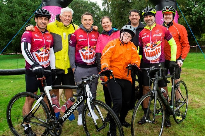 Three retired footballers turn up for Vimto 110km charity bike ride I Love Manchester