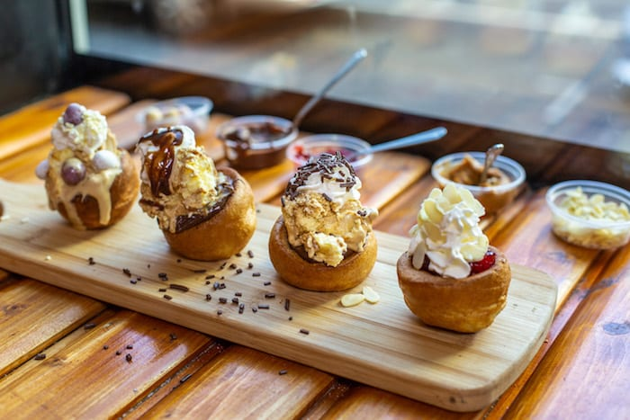 Check out these DESSERT Yorkshire puddings - with lashings of chocolate and ice cream at Porky Pig I Love Manchester
