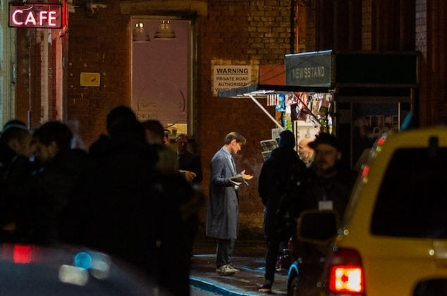 Matt Smith pictured filming Morbius as the Northern Quarter transforms into atmospheric New York City I Love Manchester