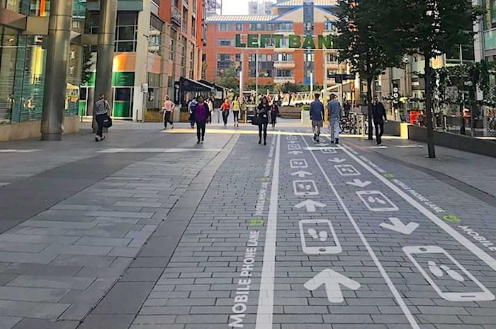 Spinningfields opens special 'phone lane' for texting pedestrians