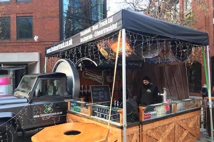 A converted Land Rover beer truck selling craft lager and gluhwein has come to the Manchester Christmas Markets I Love Manchester