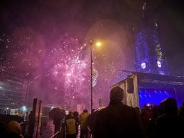 Manchester cathedral fireworks