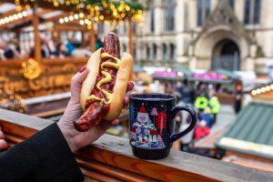 sausage gluhwein Manchester Christmas Market prices