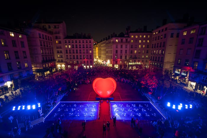 A gigantic beating heart has appeared in Spinningfields for Valentine's Day I Love Manchester
