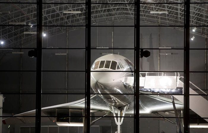 Disco under one of the last remaining Concorde jets in this Manchester Airport hangar I Love Manchester