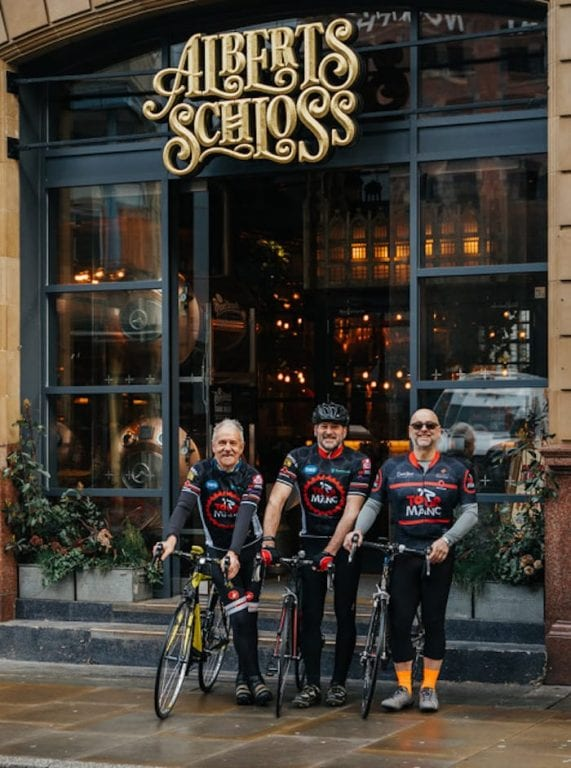 There's a free beer for Tour de Manc bikers at Albert's Schloss - provided you cross the finish line I Love Manchester