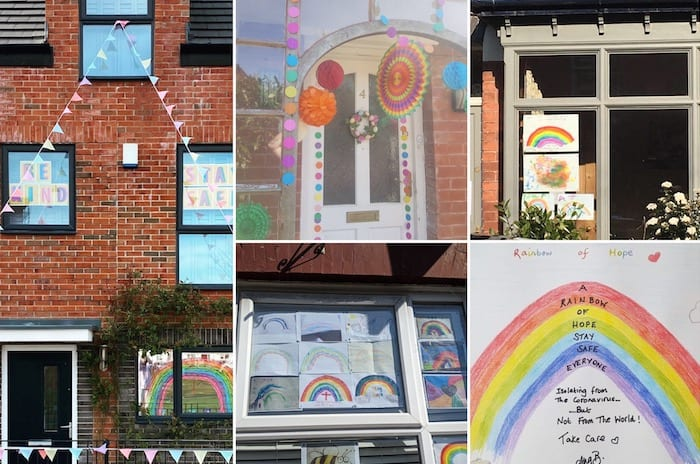 People are using rainbows and traffic light cards to communicate with their neighbours in lockdown I Love Manchester