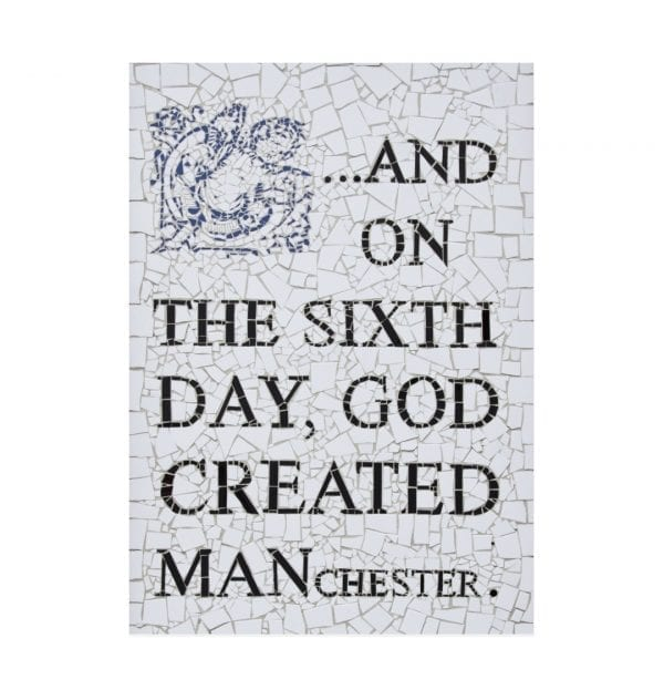 And On The 6th Day God Created Manchester Postcard I Love Manchester