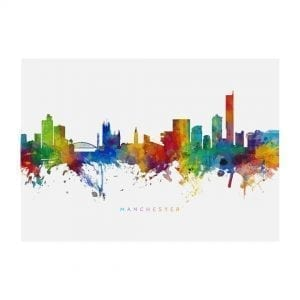 Manchester Skyline Painting Large Landscape Print I Love Manchester