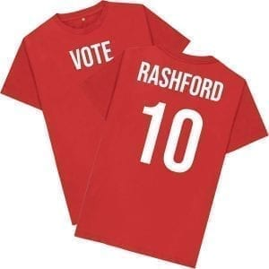 """Vote Rashford 10"" Front & Back T-Shirt I Love Manchester"