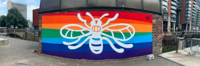 Local youth group install NHS inspired mural at New Bailey I Love Manchester