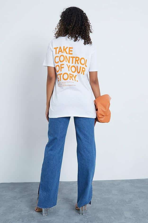 The t-shirts feature an empowering slogan 'Take Control Of Your Story'